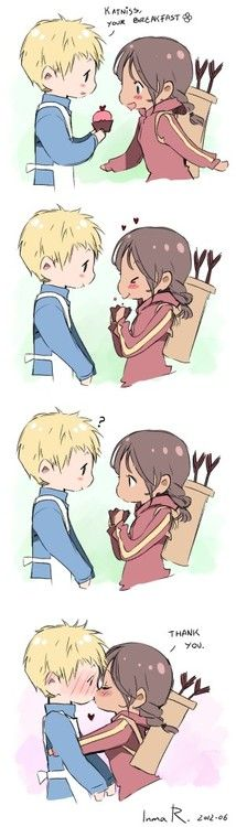 This is the cutest thing :3. I wish I could have a cupcake for breakfast backed by Peeta.