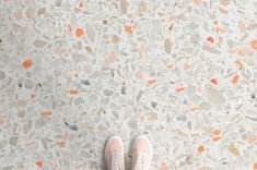 Experiment with the Orange Flick Terrazzo Vinyl Flooring, a design that exudes style and sophistication with it's soft neutral tones. Terrazzo Flooring, Linoleum Flooring, Basement Flooring, Carpet Flooring, Kitchen Flooring, Hardwood Floors, Flooring Ideas, Kitchen Carpet, Retro Vinyl Flooring