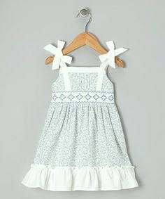 Take a look at this Off-White & Blue Floral Smocked Dress - Infant & Toddler by P'tite Môm on #zulily today!