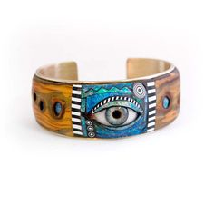 Tribal Eye Cuff with Iridescent Mosaic and Faux by LizardsJewelry, $175.00