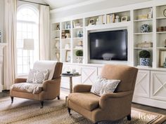 Contemporary Cream Family Room Club Chairs