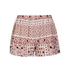 Ally Fashion Patchwork boho print side tie short (44 BRL) ❤ liked on Polyvore featuring print
