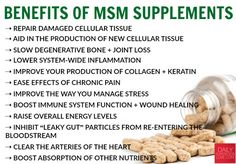 Relieve Pain, Improve Joint Health, & Detox with MSM Methylsulfonylmethane (MSM) is biologically active sulfur . It's a mineral you don't h. Health Benefits, Msm Powder Benefits, Health And Wellness, Health Tips, Health Fitness, True Health, Fitness Gear, Women's Health, Larissa Reis