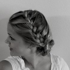 French braid low bun up-do.  Love it!! @Tara Harmon Arnold