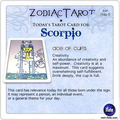 Daily tarot card for Scorpio from ZodiacTarot! Think tarot readings are expensive?  Think again.  You can get a free one online now!   Visit iFate.com today! And for all today's ZodiacTarot cards, check out ZodiacTarot.com !