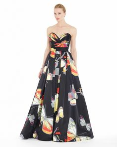 Luly Yang Couture Ready to Wear Collection -  Spring Papillion. Butterfly Print Silk Ball Gown