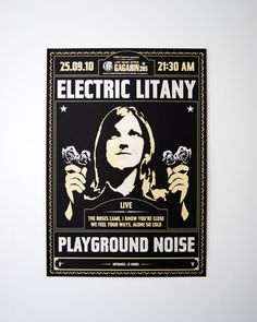 Electric Litany Silkscreen Poster - Indyvisuals Design Collective Corfu, Graphic Design Branding, Brand Packaging, Rock Bands, Electric, Posters, Illustrations, Feelings, Bands