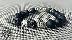 "Double Buddha Bracelet ""All Black"" by FXMX Empire - 10mm matte black Onyx and Lavastone"