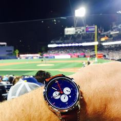 The Patriot taking in a Padres ballgame from some nice seats behind home plate at Petco Park. #wingmanwatches #padres #wheresyourwingman #customwatch