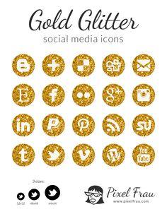 Free Gold Social Media Icons | Pixel Frau