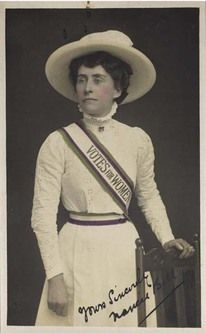 """Emily Davidson, an English Suffragette, gave her life for her cause.  She walked in front of the racing horses and was attempting to attach a """"Votes For Women"""" slash to the King's horse as it passed at the races but she was hit killed. Her death created worldwide attention and is one of the focal points in the Suffragette movement."""