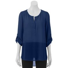 Candie's Shirred Sheer Button Down Juniors' Tunic