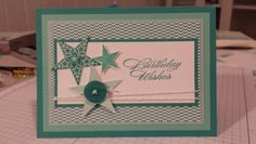 Stampin up monochromatic male birthday card in pool party coastal cabana & bermuda bay. Simply stars stamp set. Masculine card. ~ Stamp with Rachel ~