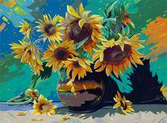 Slunečnice+Váza+se+slunečnicemi+ve+svěžím+lehce+abstraktním+stylu,+plném+barev+a+slunce.+Malba+akrylovými+barvami+40cm+x+30cm.+Signováno.+Zasazeno+do+jednoduchého+černého+rámku.