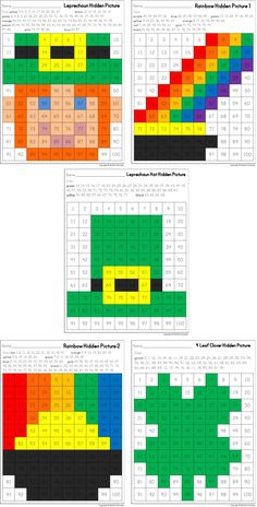 St. Patrick's Day Hidden Pictures in 100's Charts