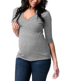Bun Heather Gray Maternity/Nursing V-Neck Tee