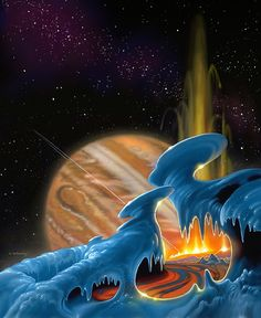 Fire and Ice, Jupiter as seen from the surface of Io by Alan Gutierrez 70s Sci Fi Art, Fantasy Illustration, Illustration Pictures, Soul Art, Science Fiction Art, Environment Concept Art, Space Theme, Fire And Ice, Retro Futurism