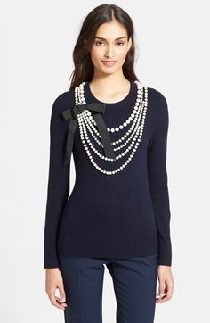 kate spade new york 'maxine' faux pearl embellished sweater available at #Nordstrom