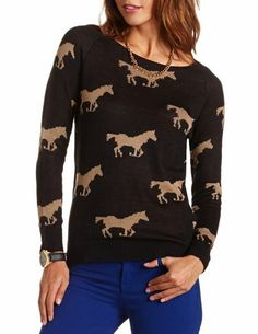 Horse Print Pullover Sweater: Charlotte Russe