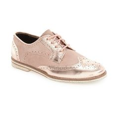 Women's Ted Baker London 'Anoihe' Oxford (£140) ❤ liked on Polyvore featuring shoes, oxfords, rose gold leather, wingtip oxfords, ted baker shoes, lace up shoes, leather brogues and lace up flat shoes