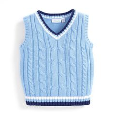 Boys' Cotton Cable Knit Tank Top | JoJo Maman Bebe