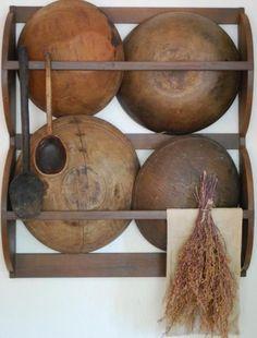 primitive+bowl+rack | Early Antique Style Primitive Dough Bowl Rack Wooden