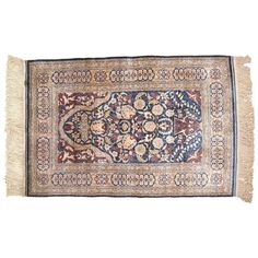 Antique Turkish Silk Hereke Oriental Rug with Weaver's Mark | From a unique collection of antique and modern turkish rugs at https://www.1stdibs.com/furniture/rugs-carpets/turkish-rugs/