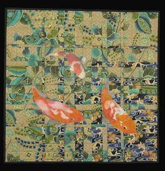 "Koi, 27.5 x 28"", by Jodi Scaltreto. 2013 Hoffman Challenge quilt.  Convergence pieced background."