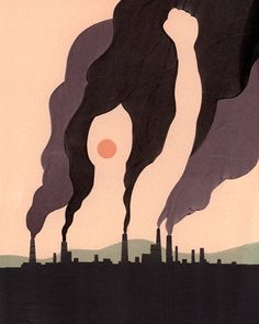 "This painting is by Alex Nabaum titled ""Earth Day"". It is an image of smoke rising from several factories while a woman's image is swept up and lost in the sky. This could be a representation of the environmentalist's voice being lost in a battle with industrialization."