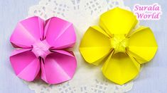 [Surala World - Origami] Paper Flower DIY : Evening Primrose How to make an Origami Flower - with one sheet of paper. Flower Diy, Paper Flowers Diy, Flower Making, Paper Art, Paper Crafts, Evening Primrose, Diy Crafts For Gifts, Paper Folding, Origami Paper