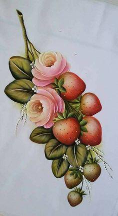 Rosas e morangos Fruit Painting, One Stroke Painting, Tole Painting, Painting For Kids, Fabric Painting, Frame Crafts, Paint Designs, Beautiful Paintings, Vintage Flowers