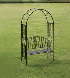 iron garden benches with rose design | Metal Garden Arch with bench seat | Garden Arches | Metal Arch ...