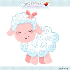 """Pink Sheep - JW Illustrations - cute little pink lamb - """"I love ewe!"""" great for Valentines"""