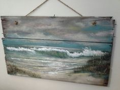 Nice painting it has character. Original ocean seascape painting on Reclaimed Wood Shabby Beach Cottage Primitive Folk Art wallhanging wall decor Art Plage, Pallet Art, Pallet Ideas, Seascape Paintings, Wood Paintings, Driftwood Art, Beach Crafts, Beach Scenes, Beach Art