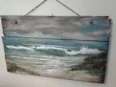 Original ocean seascape painting on Reclaimed Wood Shabby Beach Cottage Primitive Folk Art wallhanging wall decor
