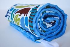 Minky Toddler Blanket  2D Animals with Blue Dot Minky by KandeBaby, $35.00