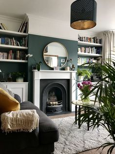 The Blue Room Farrow and Ball Inchyra Blue Semi Detached Living Room The decoration of home is like an exhibit space that reveal. Dark Green Living Room, Dark Living Rooms, New Living Room, Small Living, Green Living Room Ideas, Modern Living, Cozy Living, Barn Living, Dado Rail Living Room