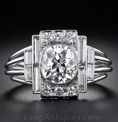 Carat Art Deco Platinum and Diamond Engagement Ring - GIA: J A fabulous, one-of-a-kind, original high-Art Deco diamond ring, hand crafted in platinum, circa showcasing a dazzling carat antique cushion-cut diamond. Cushion Cut Diamond Ring, Cushion Cut Diamonds, Diamond Cuts, Bijoux Art Deco, Art Deco Jewelry, Fine Jewelry, Antique Rings, Antique Jewelry, Vintage Jewelry