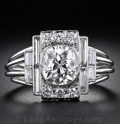 1.60 Carat Art Deco Platinum and Diamond Engagement Ring - GIA: J VS2, A fabulous, one-of-a-kind, original high-Art Deco diamond ring, hand crafted in platinum, circa 1925, showcasing a dazzling 1.60 carat antique cushion-cut diamond.