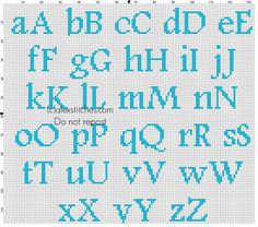 Cross stitch baby light blue alphabet Footlight MT Light size 20 color DMC 996 - free cross stitch patterns by Alex