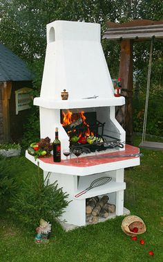 """Super cool, white outdoor fireplace/firepit. Барбекю """"Грация"""" Fire pits & barbecues by Barbecue"""