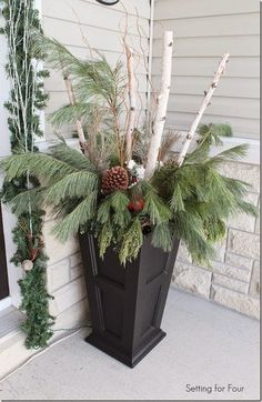 tall-porch-planter-greenery-birch More