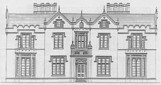 Gothic mansion design plans from the 1800s, front elevation and mansion entrance.
