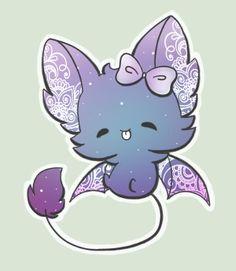 Cute Kawaii Animals, Cute Animal Drawings Kawaii, Kawaii Art, Kawaii Anime, Cute Fantasy Creatures, Mythical Creatures Art, Cute Creatures, Cute Bat, Creature Drawings