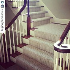 Tuftex Only Natural stair runner - Interior Design Tips and Home Decoration Trends - Home Decor Ideas - Interior design tips Entryway Stairs, Wood Stairs, House Stairs, Basement Stairs, Painted Stairs, Stairway Carpet, Staircase Runner, Carpet Runner On Stairs, Runners For Stairs