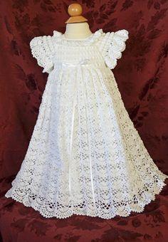 White Christening / Blessing Gown with Slip   by CherryHillCrochet