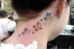 Cute blue butterfly tattoo design for girls tattoosonneck tattoos Butterfly Tattoo Cover Up, Butterfly Tattoo Meaning, Butterfly Tattoo On Shoulder, Butterfly Tattoos For Women, Butterfly Tattoo Designs, Tattoo Designs For Girls, Forearm Tattoos, Hand Tattoos, Small Tattoos