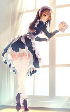 ✮ ANIME ART ✮ meido. . .maid costume. . .cosplay. . .uniform. . .apron. . .ruffles. . .lace. . .petticoat. . .headdress. . .stockings. . .cleaning. . .ecchi. . .kawaii