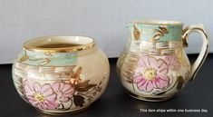 Sadler Creamer and Sugar Set Double Sided Motif c 1937 -47 ENGLAND Expired by SeasonsWreathsPlus on Etsy Little Flowers, Faux Flowers, Silk Flowers, 14k Gold Jewelry, Antique Jewelry, Fine Jewelry, Silk Floral Arrangements, Floral Centerpieces, Replacement Dishes