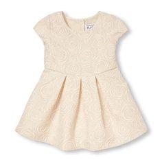 Baby Girls Toddler Cap Sleeve Metallic Rose Brocade Pleated Dress - White - The Children's Place